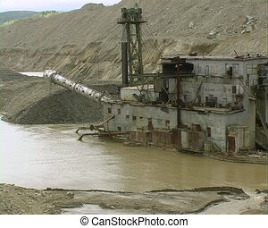Dredge. - Dredge barge on  river.