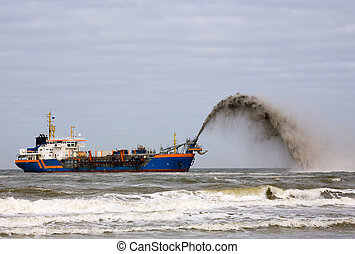Dredger pump the sand through a pipeline onto beach or rainbowing through a spout when the ship is able to come close enough to beach