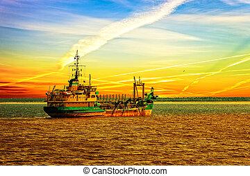 Dredger ship in port