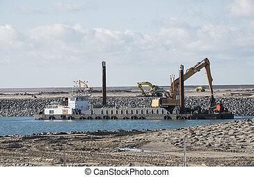 dredger ship working at Europoort in Holland