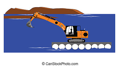 dredging operation - excavator dredging on water