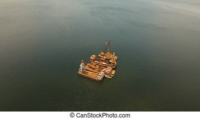 Dredging platform on the sea. Philippines, Manila. - aerial...