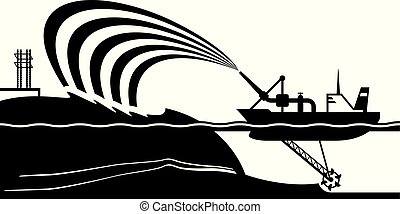 Dredging ship make artificial island - vector illustration