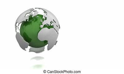 drehen, abstrakt, grüner globus