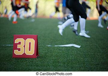 dreißig, feld, bild, fußball, zahl, verwischt, spieler, rennender , hintergrund, fußball