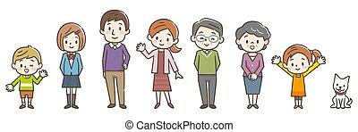 drei, abbildung, generation, familie