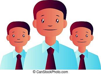 drei, abbildung, vektor, hintergrund, stimmengleichheiten, weißes, mann