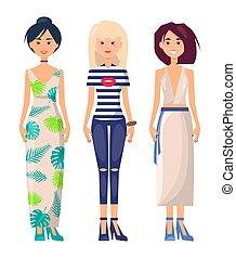 drei, beiläufig, mädels, in, verschieden, sommer kleiden