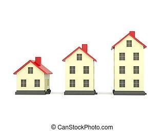 drei, dach, freigestellt, häusser, weiß rot