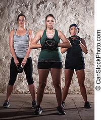 drei, damen, in, stiefel, lager, workout