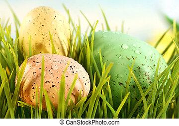 drei, färbte eier