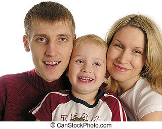 drei, familie, freigestellt