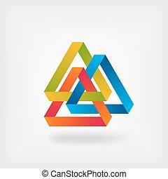 drei, farbe, zusammengefügt, dreiecke