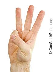 drei, finger, freigestellt