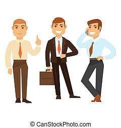 drei, geschäftsmänner, in, gute stimmung, während, arbeiten,...