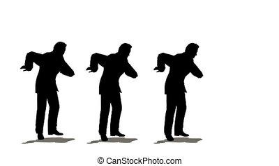 drei, geschäftsmänner, tanzen