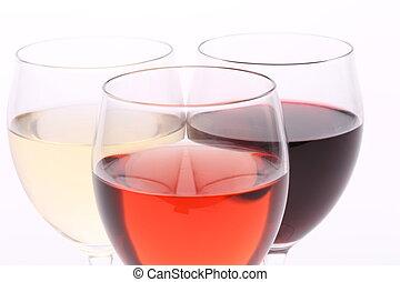 drei gläser, mit, weißes, rose, und, rotwein