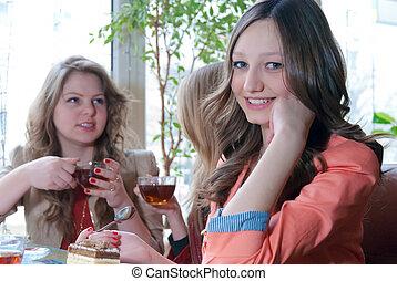 drei, glücklich, friends, in, cafeteria