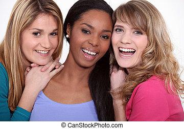 drei, glücklich, weibliche , friends