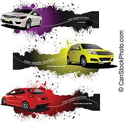 drei, grunge, banner, mit, cars., vektor, abbildung
