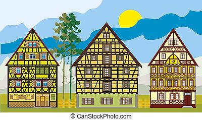 drei, hütten, farm-houses