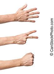 drei, hand, gestures., gestein, papier, schere, spiel