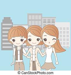 drei, karikatur, mädels, lächeln