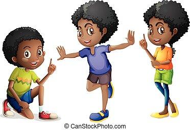 drei, kinder, amerikanische , afrikanisch