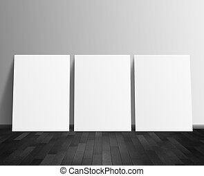 drei, leer, weißes, plakat