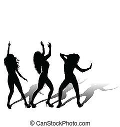 drei mädchen, disco-