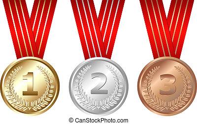 drei, medaillen