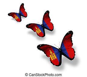drei, mongolisch, fahne, vlinders, freigestellt, weiß