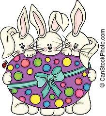 drei, reizend, kaninchen, besitz, a, groß, osterei