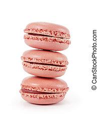 drei, rosa, macarons, freigestellt, weiß