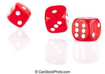 drei, rotes , spielwürfel