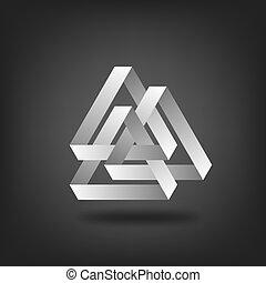drei, silber, zusammengefügt, dreiecke