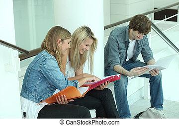 drei, teenager, revidieren, zusammen