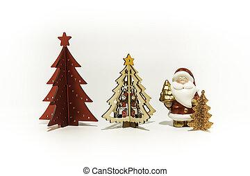 drei, weihnachtsbäume, mit, santa