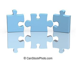 drei, zubehörteil, von, a, puzzel