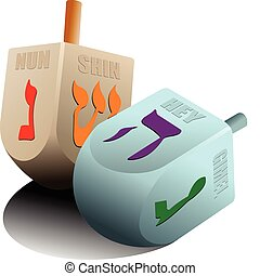 Dreidel  as element of Hanukkah festival. Vector