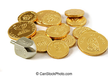 Dreidel & Coins - A dreidel and gold chocolate Hanukkah...