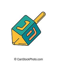 Dreidel icon, cartoon style - Dreidel icon. Cartoon dreidel...