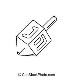 Dreidel icon, outline style - Dreidel icon. Outline dreidel...