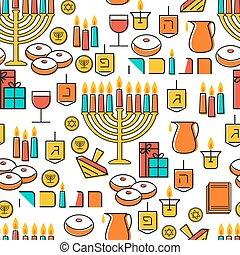 dreidel., menorah, sufganiot, hanukkah, pattern., seamless, ...