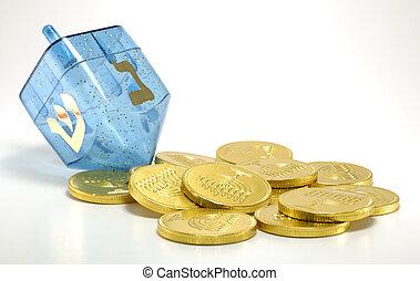Dreidel - Photo of a Dreidel and Gelt (Candy Coins) -...
