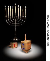 Hanukkah dreidels under a spotlight