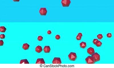 dreidimensional, icosahedra., render, fallender , rotes , 3d