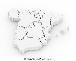 dreidimensional, landkarte, von, spain., 3d