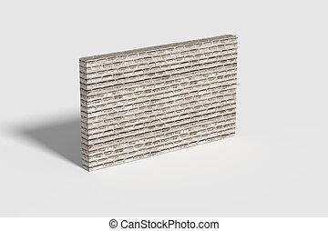 dreidimensional, wand, mitte, weißer ziegelstein, zimmer
