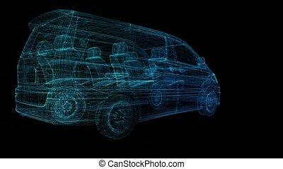 dreieck, grad, wireframe, drehen, bildung, minivan., modell,...
